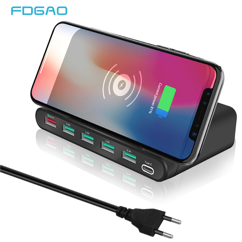 FDGAO Qi Wireless USB Charger QC 3.0 Quick Charge PD Type C Wall Travel Adapter Phone Fast Charging for iPhone X Samsung Xiaomi