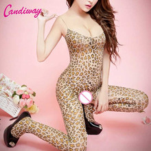 2017 Women Sexy Lingerie Large Elastic Body stocking Open Crotch Body Suits jumper Sleeve Teddies Female Exotic Leopard Clothing