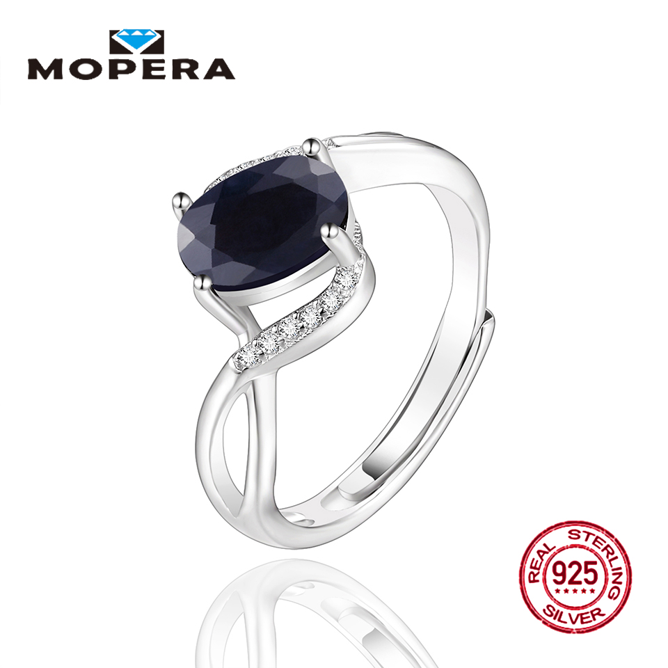 Mopera 100% 925 Silver Ring Oval Classic 6 kinds Natural Black Sapphire Adjustable Size 6-10 Rings For Girls Fashion Jewelry