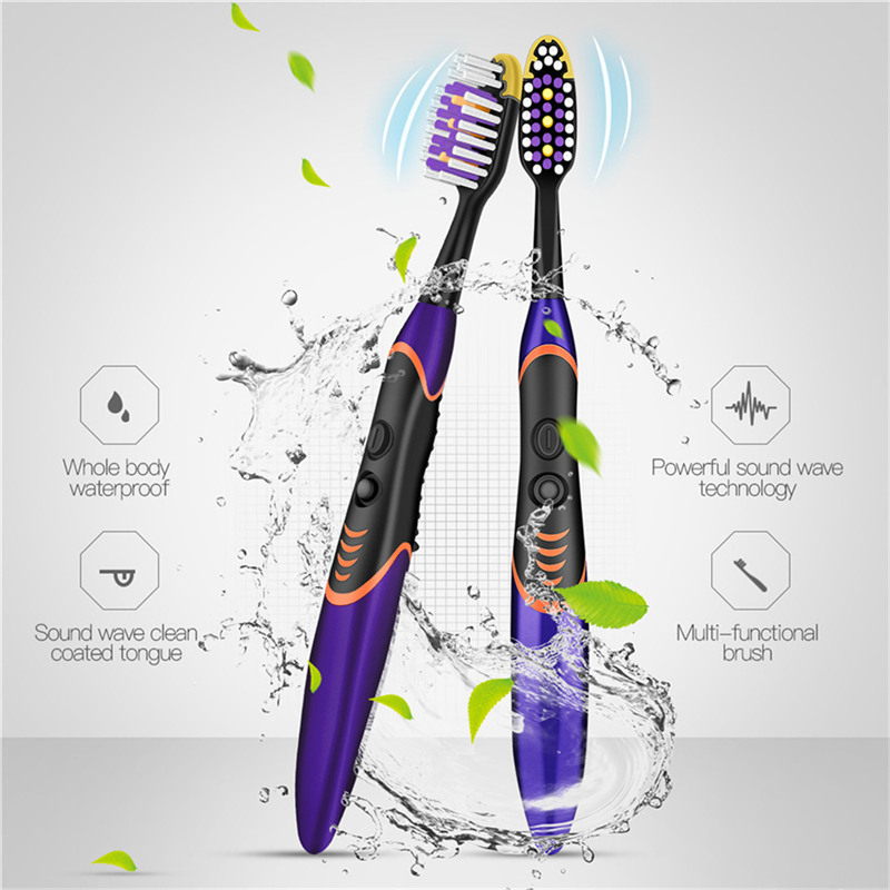 Portable Travel Sonic Toothbrush Replaceable Brush Head AAA Battery Power Waterproof Tooth Brushes Teeth Cleaning Whitening PJ image