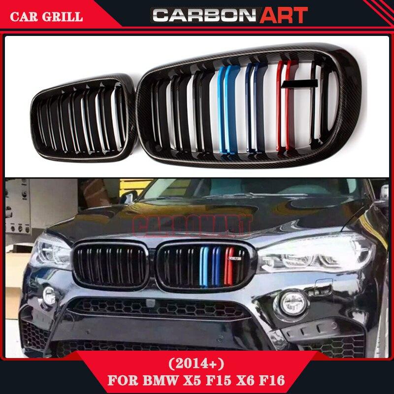 Блестящий черный M Цвет автомобиля углеродного волокна сетки grile переднего бампера Замена решетка Запчасти Авто сетки для BMW X5 F15 x6 F16 2014 +