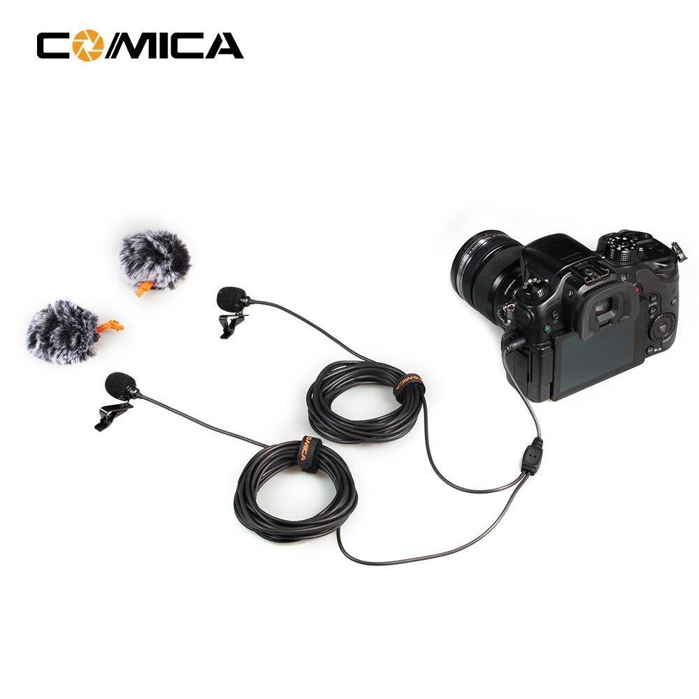 CoMica CVM-D02 Universel Microphone 2.5 m Cravate Omnidirectionnel À Condensateur Double Micros pour DSLR Caméras Téléphone Intelligent Gopro Hero