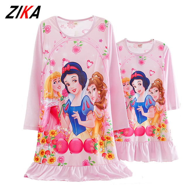 ZiKa Azul Rosa Madre Vestido Del Cabrito Elsa Anna ropa de Dormir Camisón Juego Ropa de Seda de la Leche de Madre E Hija Familia Equipada