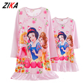 ZiKa Blue Pink Mother Kid Dress Elsa Anna Nightdress Mother Daughter Matching Clothes Milk Silk Family Fitted Sleepwear