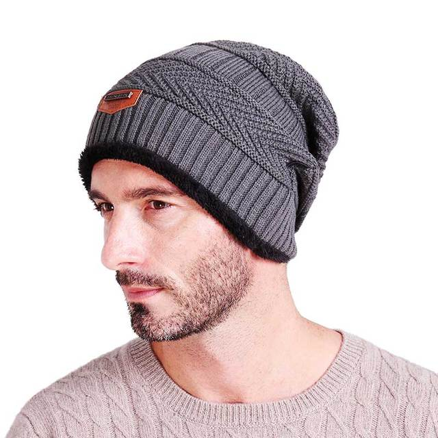 Knitted black hats Fall Hat Thick and warm and Bonnet Skullies Beanie Soft Knitted Beanies Cotton 2