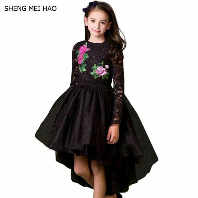 Girls Clothes 2018 Spring Embroidery High Grade Black Wedding Dress