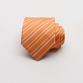2019 New Style Designer High Quality Fashion Men Tie 9CM Width Striped Wedding Groom Party Neckties Orange with Luxury Gift Box