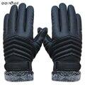 Hombres guantes de invierno Guantes de cuero de conducción pantalla homme espesar guantes gants anticongelante guantes de piel caliente #035