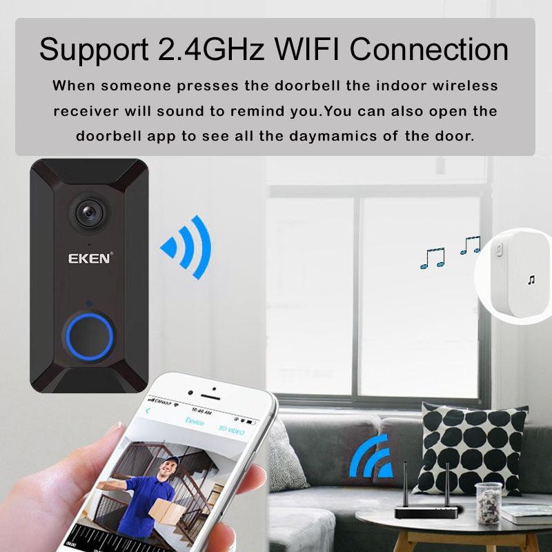 EKEN V6 Doorbell camera 720P Smart Wireless door bell camera with Cloud storage ip waterproof home