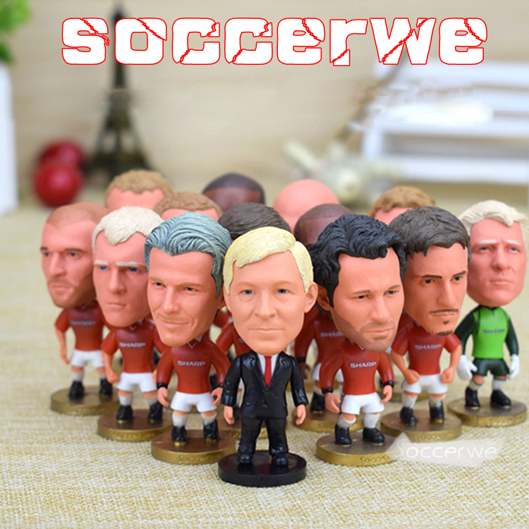 15PCS + Display Box Soccer ManUtd 1998/1999 Player Figurine 2.5