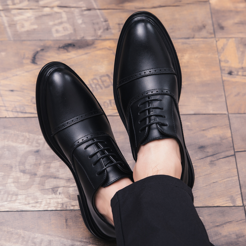 2018 NewTrend Leather Men Shoes Brown Black Dress Shoes For Male Thick Soled Casual Shoes Men Rubber Sole Mens Fashion Footwear in Men 39 s Casual Shoes from Shoes