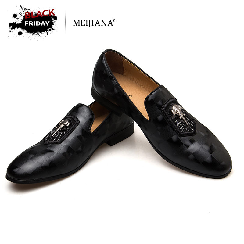 MEIJIANA 2018 Spring Autumn Genuine Leather Men Loafers Fashion Men Shoes Black Banquet Shoes eemrke led angel eyes drl for suzuki aerio liana 2005 2006 2007 fog lights daytime running lights h3 55w halogen cut line lens