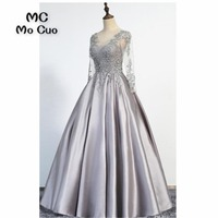 Women's Evening Dresses Long with Appliques Lace v neck Satin A Line Formal Beaded Prom Dress for Women 100% Real Sample