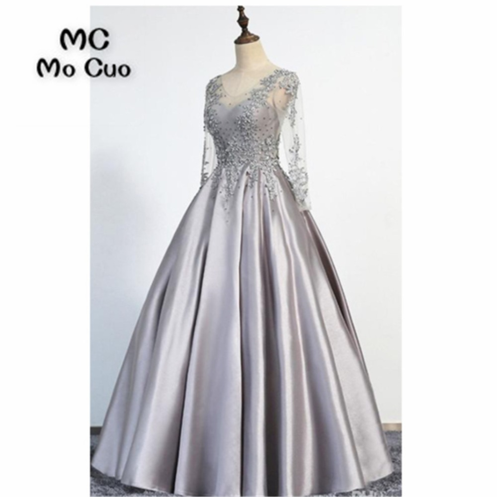 Womens Evening Dresses Long with Appliques Lace v neck Satin A-Line Formal Beaded Prom Dress for Women 100% Real Sample