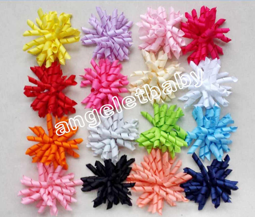 "10pcs Hair bow hairs clips curly grosgrain ribbon 4"" Korker  bows Corker satin hairband flowers hair ties elastic headband PD007"
