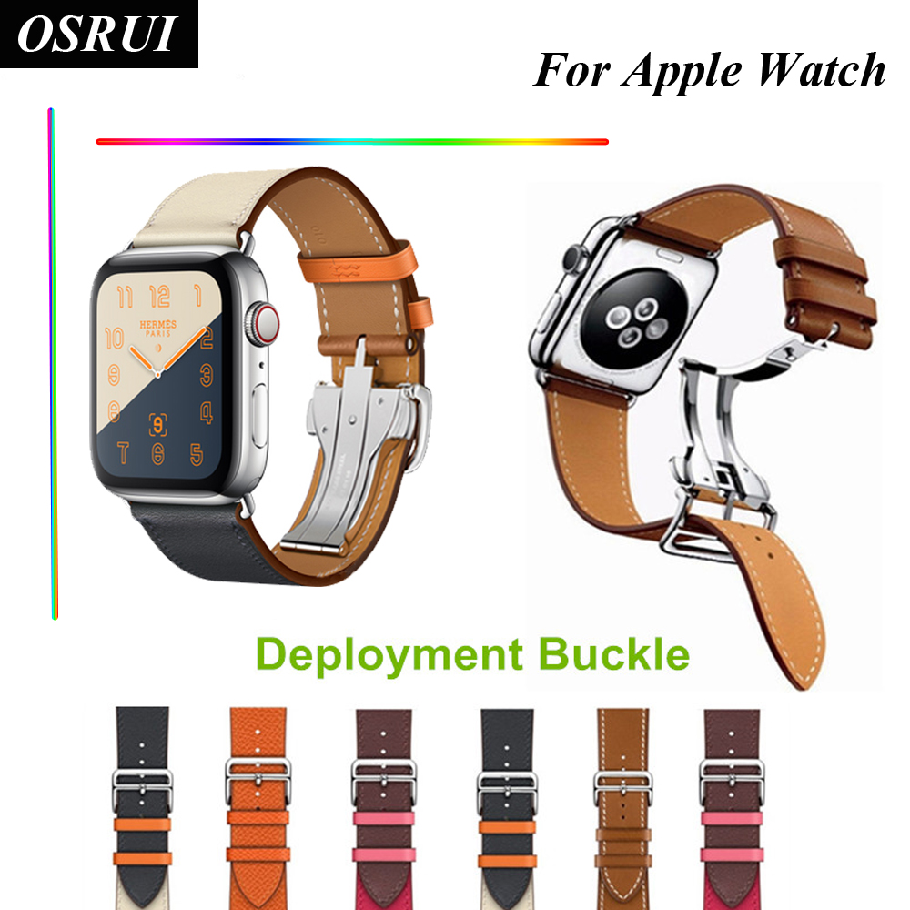OSRUI Leather Single Tour Deployment Buckle for Apple watch band 44mm 40mm Watchband correa 42mm 38mm wrist bracelet