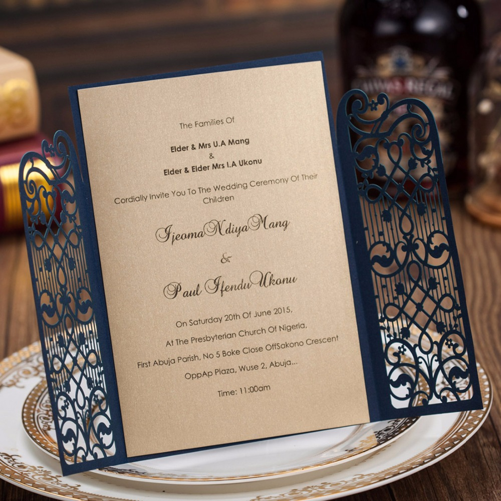 Aliexpress.com : Buy Dark Blue Laser Cut Wedding Invitations Kits Open Gate  Engagement Marriage Bride Baby Shower Birthday Cards Party Favors CW5102  From ...
