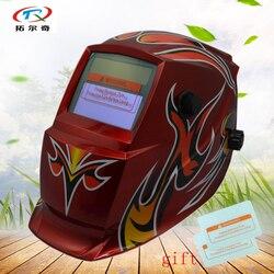 Czerwony spawania kask kapelusz samościemniającymi słoneczna moc wewnętrzna bateria maska do spawania najlepsza cena mig tig spawacz łukowy narzędzie GD03 (2200DE) W