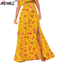 купить ADEWEL New Women Maxi Skirt Yellow White Floral Printed Long Skirt Slit Boho Summer Skirt Bowknot Front Sexy Beach Skirts 2019 по цене 1236.84 рублей