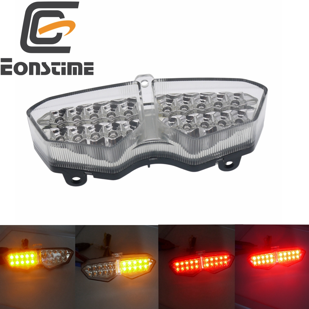 Eonstime Motorcycle Tail Light Integrated Turn Signals Brake Lamp For Yamaha YZF R6 R6S 2003 2004 2005 Motorbike Tail Turn