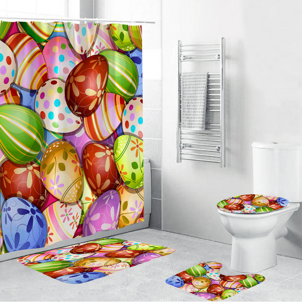 Butterfly Pattern Bathroom Curtain Set Made With PVC Mesh Bottom For Bathroom Decorate 2