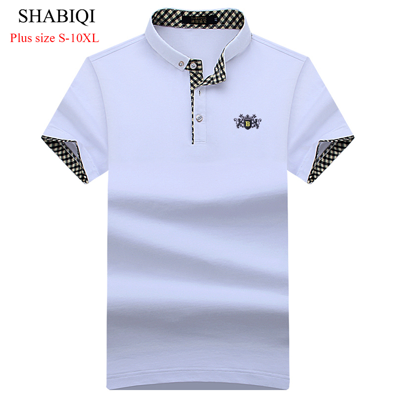 SHABIQI New 2018 Summer Men   Polo   Shirts Short Sleeve Cool Cotton Slim Fit Casual Business Men Shirts Luxury Brand Size S-10XL