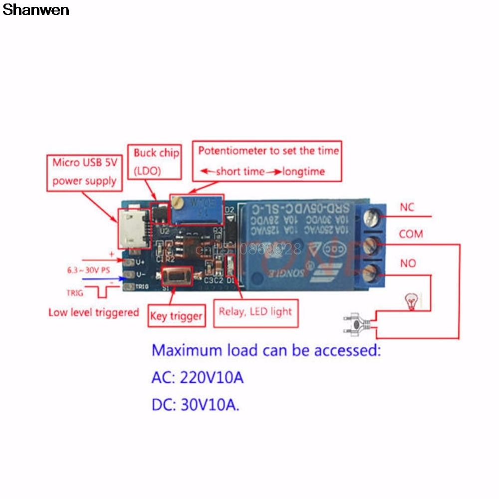 1pc 5v 30v Delay Relay Timer Module Trigger N Usb Power Supply Wiring Diagram Switch Micro Tool Us