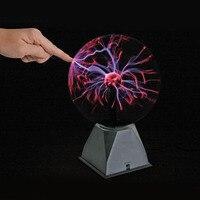 8 Inch USB Plasma Ball Electrostatic Sphere Light Crystal Lamp Ball Touch Sensitive Transparent Desktop Lights