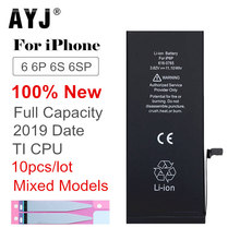 10pcs/lot 2019 AYJ AAAAA Quality Battery for iPhone 6 6S Plus TI CPU Protection Replacement Real Capacity Cobalt Sticker