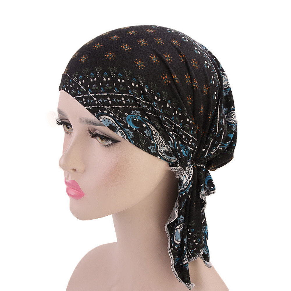 Women hair accessories Vintage Turban Headband Ruffle Cancer Chemo Beanie Bandanas Scarf Head Wrap   Headwear   Fitness PAUGT9