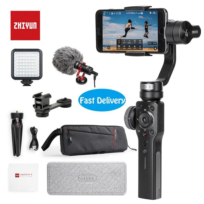 Zhiyun Suave 4 3-eje cardán portátil estabilizador de montaje de cámara para iPhone X 8 y Huwei P10 y gopro y cámaras de acción