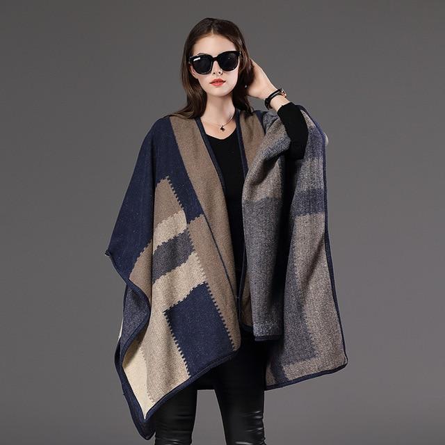 e258fe1e7 Marca Celebridade Oversized sweater poncho de lã outono inverno xadrez cashmere  cardigans de Malha da forma