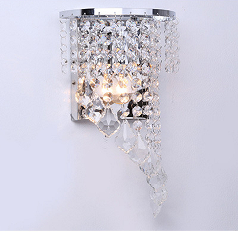 Crystal warm white sconce led Wall Lamp bedside lamp Bedroom Stair lamp Crystal wall Lights e14 Led silver Color indoor lighting contemporary led wall lamp with butterfly lampshade for bedroom foyer 15w wall sconce white warm white indoor lighting lamp