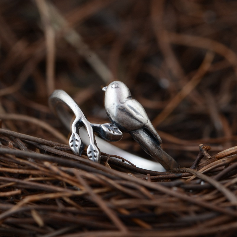 Hot Sale 100% Real 925 Sterling Silver Vintage Ring for Women Handmade Bird Adjustable Ring Fine Jewelry For Birthday gift