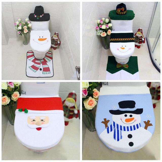 Christmas Decor Santa Claus Snowman Bathroom Set Toilet Seat Set Cover Rug Water Tank Cover Decor New Year Christmas Decorations