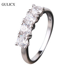GULICX 2017 Brand New Row Crystal Rings for Women Silver-color Round Crystal CZ Zircon Engagement Wedding Party Jewellery R167(China)
