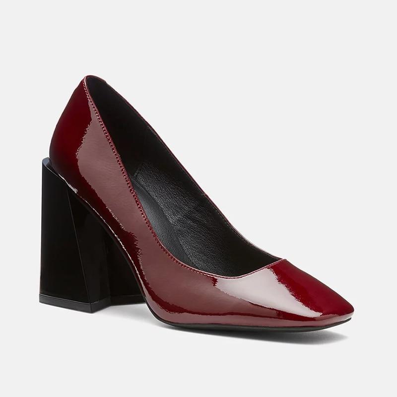 Básicos Madura Bombas Zapatos Del Cuero Pie Slip Cuadrado Ty01 Patente 2019 Damas Ocio Tacones on Mujer Dulce Alta Delgados Dedo Super De Moda ZYqpEHpw