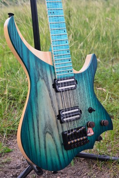 цена на NK Headless Electric Guitar  style Model  blue burst Color Flame maple Neck in stock Guitar free shipping