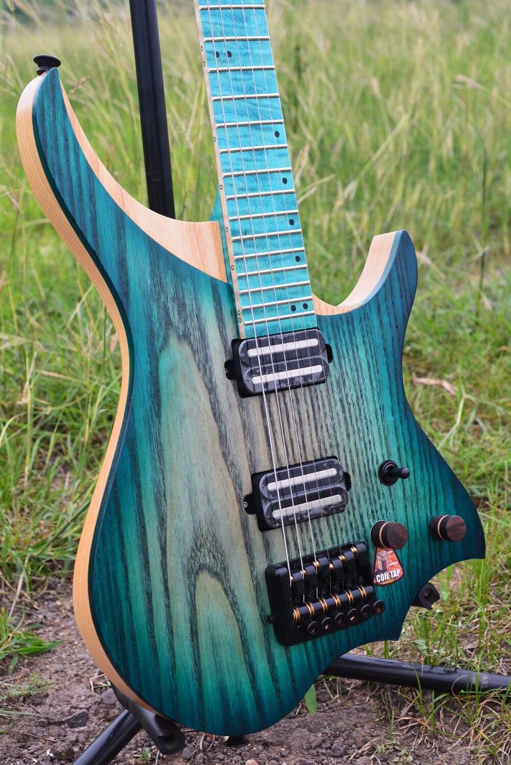 NK guitarra eléctrica sin cabeza estilo steeberger modelo azul explosión Color llama maple cuello en stock guitarra envío gratis