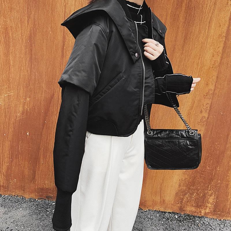 Nouvelles see Solide De Manteau Parka hg Pleine Couleur Poitrine Femelle Mode Black Corée D'hiver Wbb1026 Casual Unique Lâche 2018 Wbb1026 Picture Manches Femmes tOtq1Px