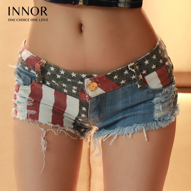 innor 2017 Sexy Women Shorts Europe And American US Flag Mini Shorts Jeans  Hot Short Low 6d870b96303
