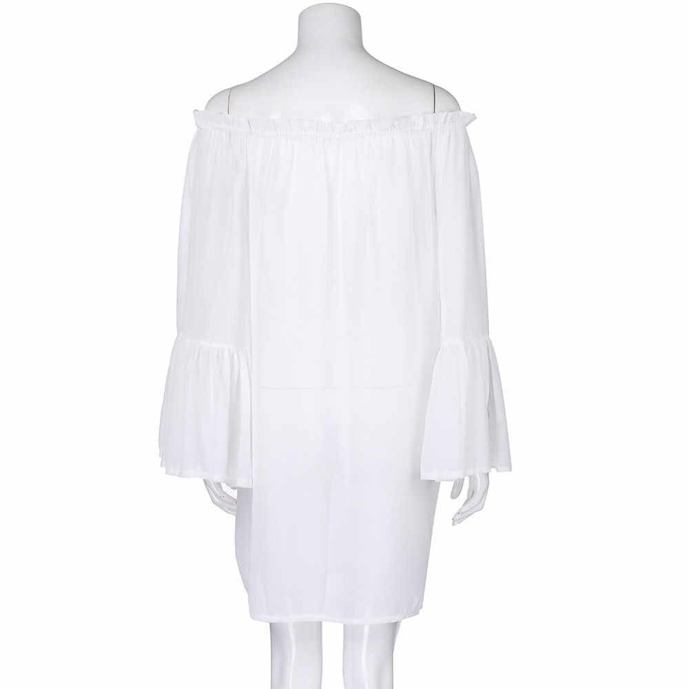 2019 新プラスサイズ 5XL 白黒 Dresss レディースホリデーシフォン自由奔放に生きるサンドレスノースリーブビーチドレス