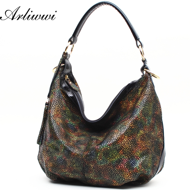 GENUINE LEATHER Rainbow Shoulder Bags For Women Romantic Star Effect Casual Style Handbag