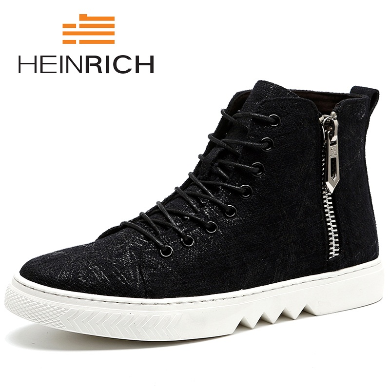 HEINRICH 2018 Winter High Top Men Shoes Fashion Leather Men Boots High Quality Ankle Boots For Male Shoes Schuhe HerrenHEINRICH 2018 Winter High Top Men Shoes Fashion Leather Men Boots High Quality Ankle Boots For Male Shoes Schuhe Herren