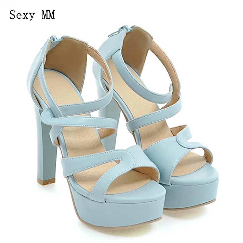 Summer Pumps Women Peep Toe High Heels Party Wedding Platform Gladiator Sandals Woman High Heel Shoes Plus Size 33 - 40 41 42 43