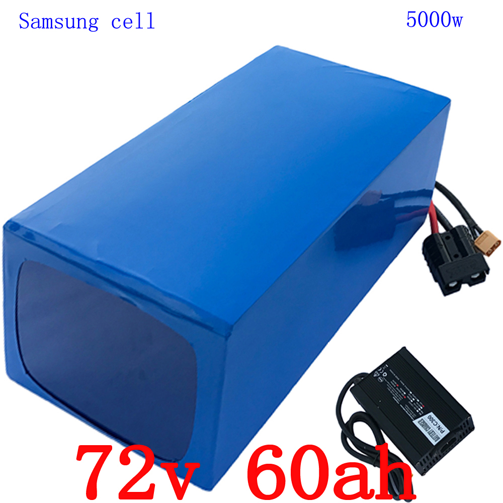 72 v 5000 w utiliser samsung cellulaire batterie 72 v 60 v au Lithium Batterie 72 v 60AH ÉLECTRIQUE vélo batterie construit en 80A BMS + 84 v 5A Chargeur