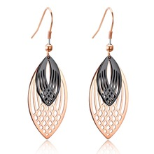 Drop Earrings Jewelry for Women Fashion Feather Design Stainless Steel Long Earrings Two Color Korean Style цена 2017