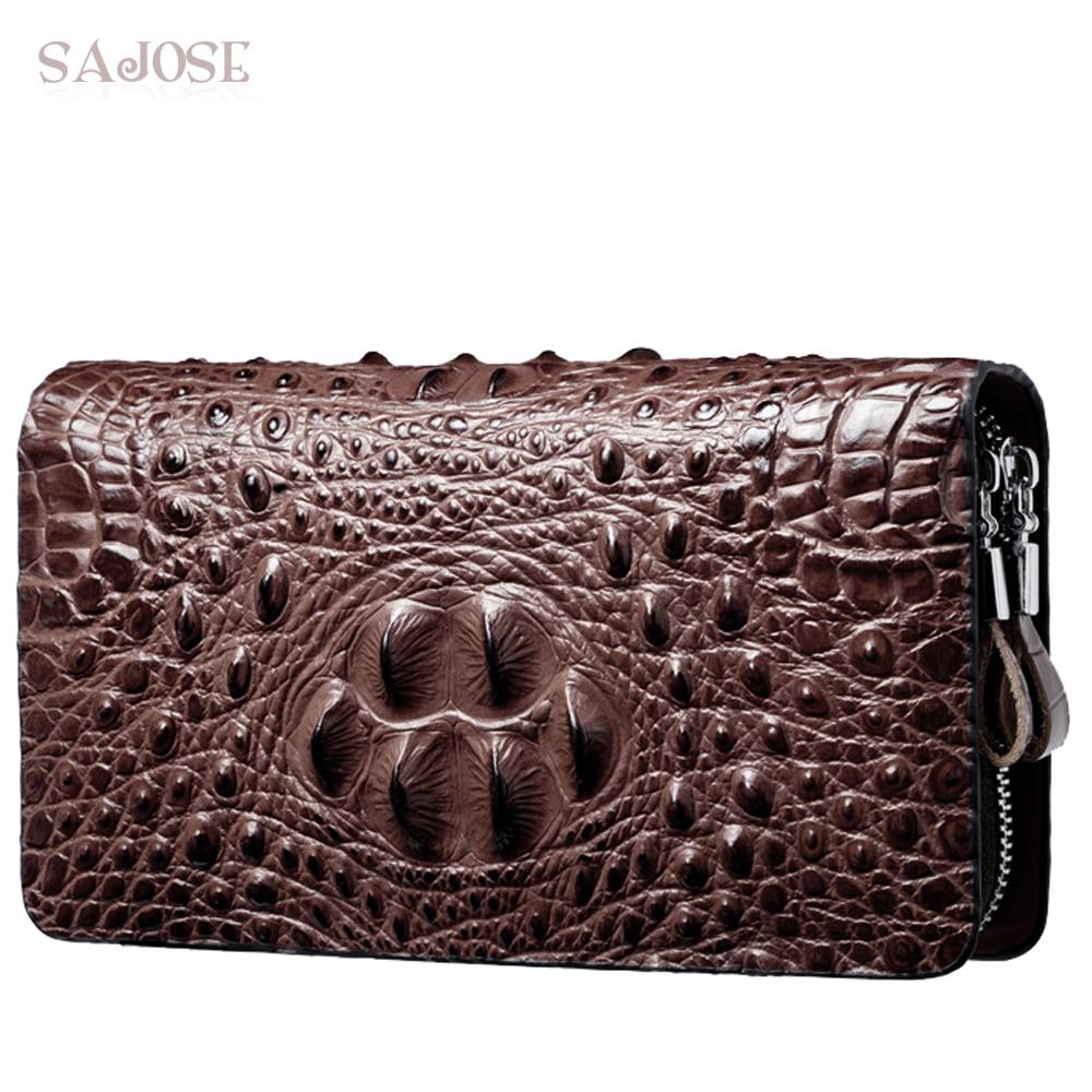 Zipper Wallet Clutch-Bag Crocodile-Pattern High-Quality Purse Business Large-Capacity