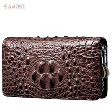 Crocodile Pattern Wallet PU Leather Wallet Mens Clutch Bag High Quality Business Double zipper Wallet Large Capacity Purse