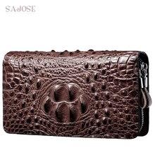 Krokodil Muster Brieftasche PU Leder Brieftasche männer Kupplung Tasche Hohe Qualität Business doppel reißverschluss Brieftasche Große Kapazität Geldbörse